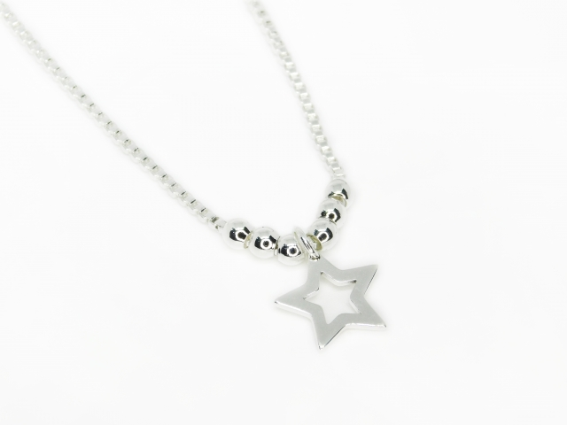 Collar Acero Blanco Vaneciana Estrella Calada