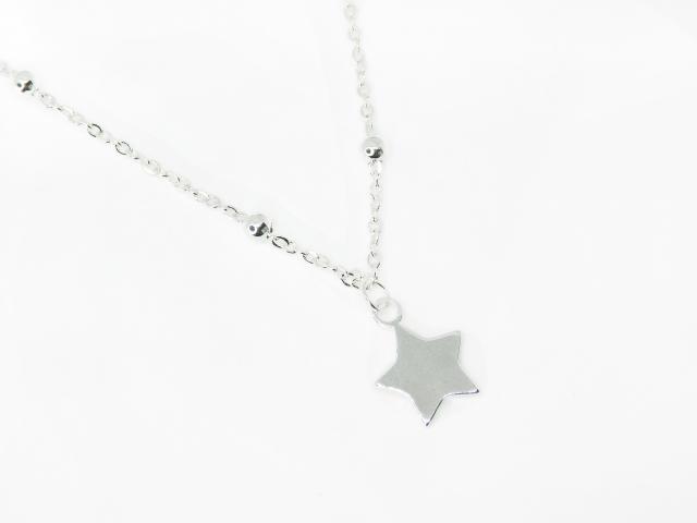 Collar Acero Blanco Estilo Choker Bolita Dije Estrella