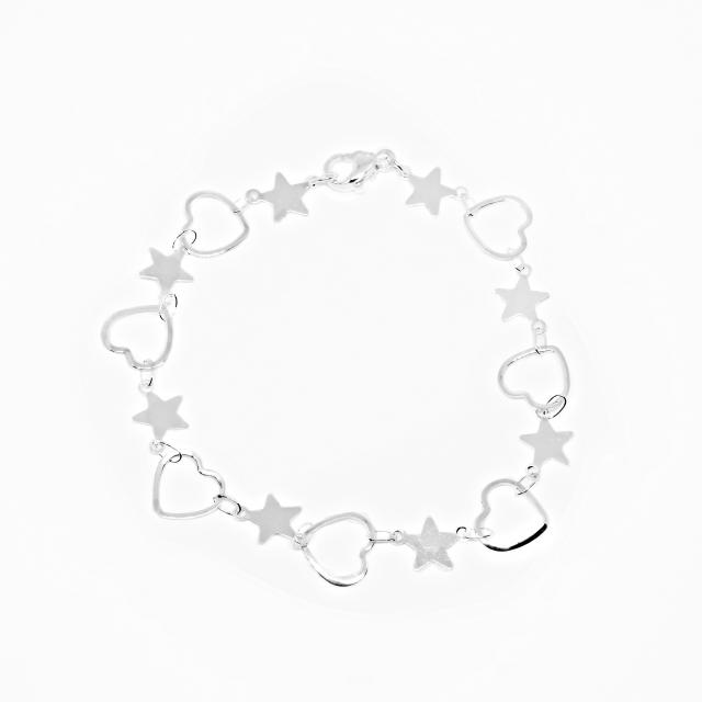 Pulsera Acero Blanco Lisa Corazón Calado -Estrella