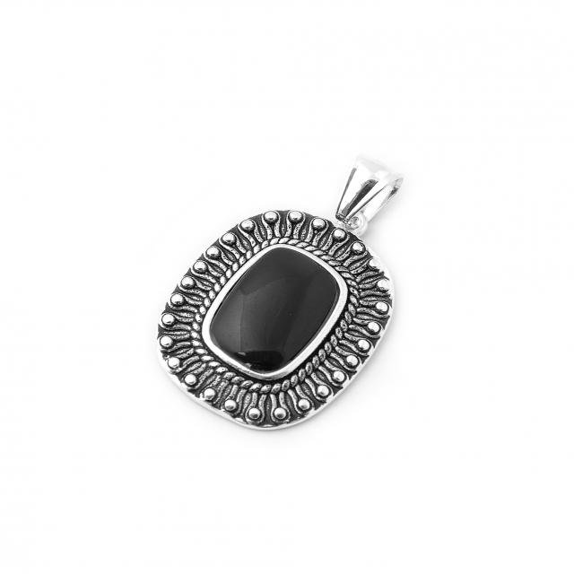 Dije Acero Blanco Medallon Cuadrado Labrado Piedra Negra