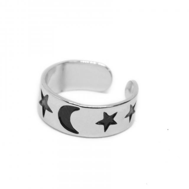 Anillo Acero Media Falange Esmaltado Estrellas Luna