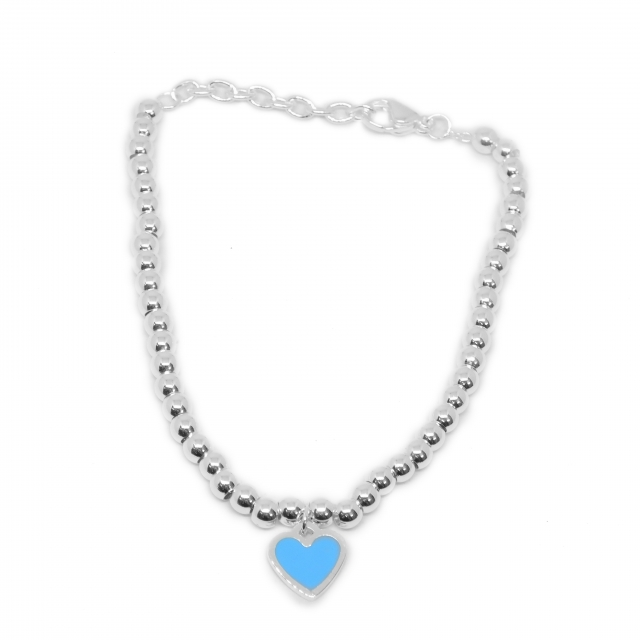 Pulsera Acero Blanco Bolitas Dije Corazón Esmaltado Azul