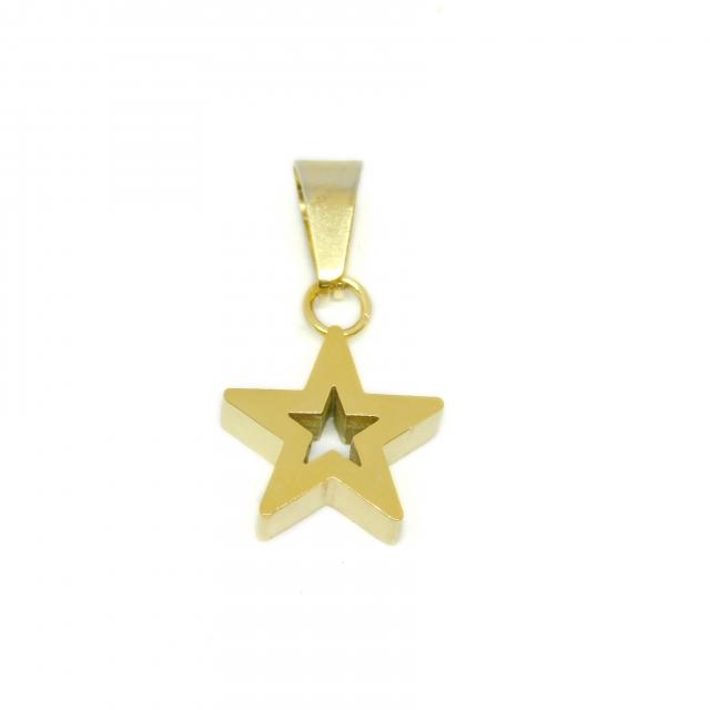 Dije Acero Dorado Estrella Maciza Calada